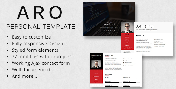 ARO – Responsive Private Portfolio Template (Virtual Organization Card)