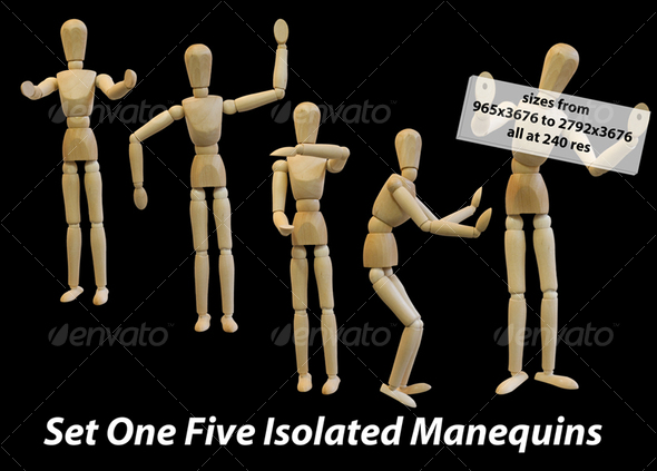 Five Isolated Artist Wood Models/Mannequins (set 1) - Activities & Leisure Isolated Objects