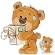 Vector Illustration of a Brown Teddy Bear Holding