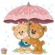 Vector Illustration of Two Brown Teddy Bear Boy
