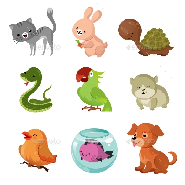 Pets Domestic Animals Vector Flat Icons