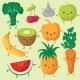 Happy Cartoon Fruits and Garden Vegetables