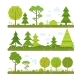 Vector Landscape Set with Forest Trees and Other