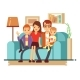 Smiling Young Family on Sofa