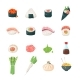 Japanese meals - vector icons set
