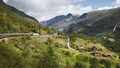 Flam railway landscape. Norwegian tourism highlight. Norway landmark. Horizontal