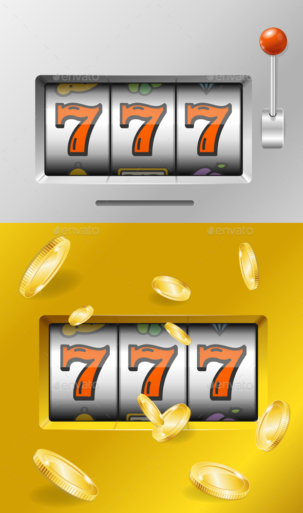 Realistic Slot Machine with Gold Coins