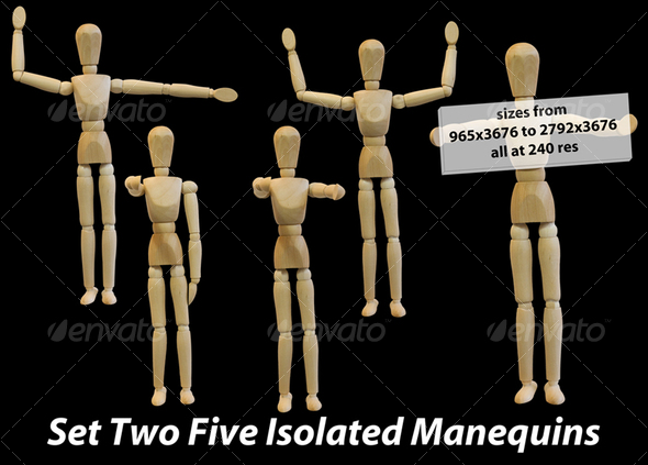 Five Isolated Artist Wood Models Mannequins set 2
