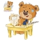 Brown Teddy Bear Sitting at the Table