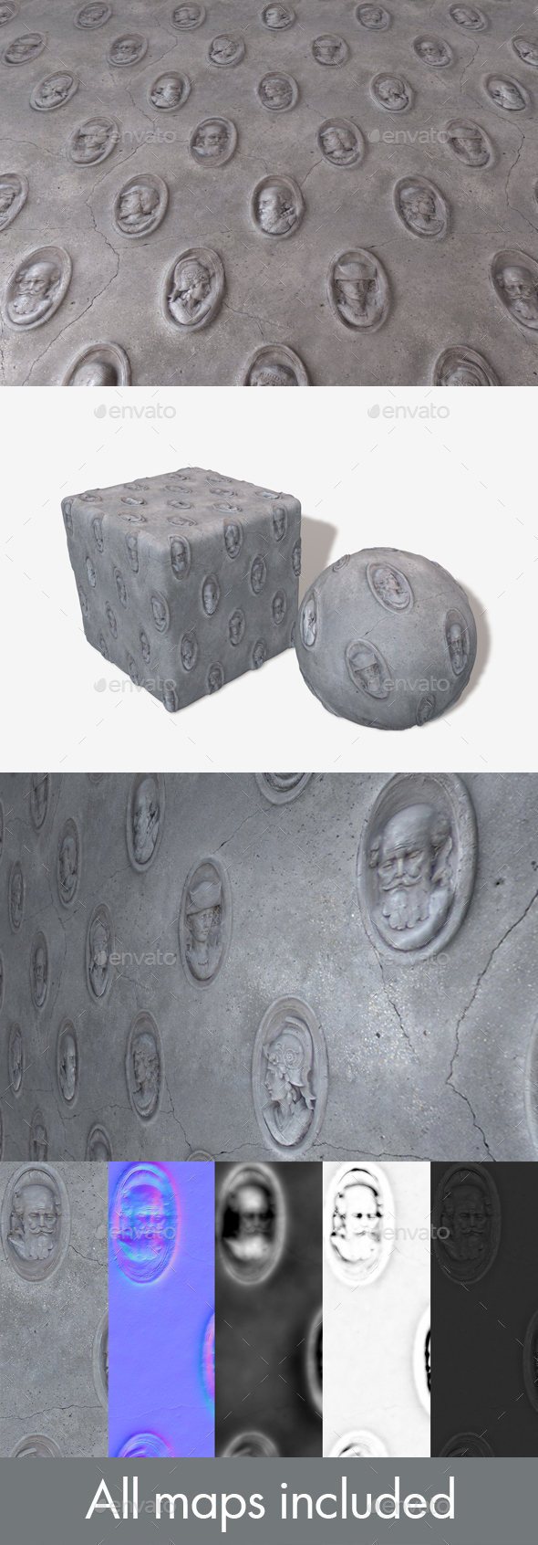 3DOcean Sculpted Heads Wall Seamless Texture 19984595