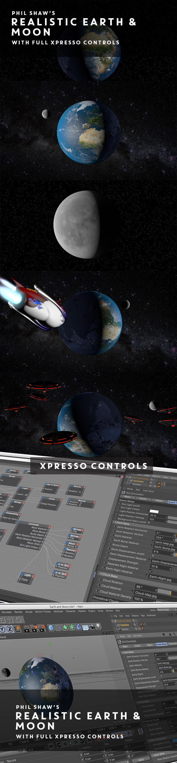 Realistic Earth & Moon with full Xpresso Control - 3DOcean Item for Sale