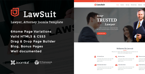 LawSuit - Lawyer, Attorney Joomla Template