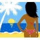 Vector Illustration of Girl on Beach