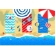 Beach Mats and Accessories on Sand