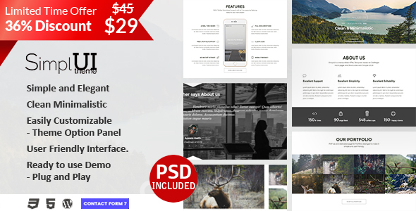 Фото Wordpress Template  SimplUI - One Page Clean Parallax Responsive WordPress Theme — Preview.  large preview