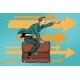 Businessman Flying on a Leather Business Briefcase