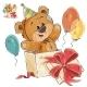 Vector Illustration of a Brown Teddy Bear Peeking