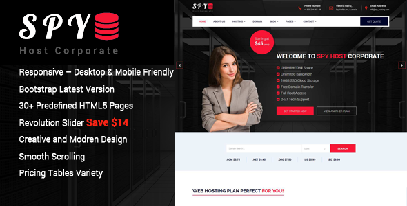 SPY - Web Hosting HTML5 Template