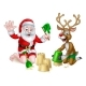 Santa and Reindeer Christmas Summer Beach