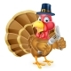 Pilgrim Hat Thanksgiving Cartoon Turkey Holding