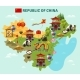 China Travel Sightseeing Map Poster