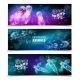 Underwater Colorful Horizontal Banners Set