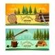 Lumberjack Woodcutter Horizontal Banners Set