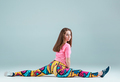 The teen girl dancing hip hop choreography