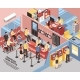 Bank Office Isometric Illustration