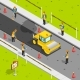 Asphalt Laying Isometric Composition