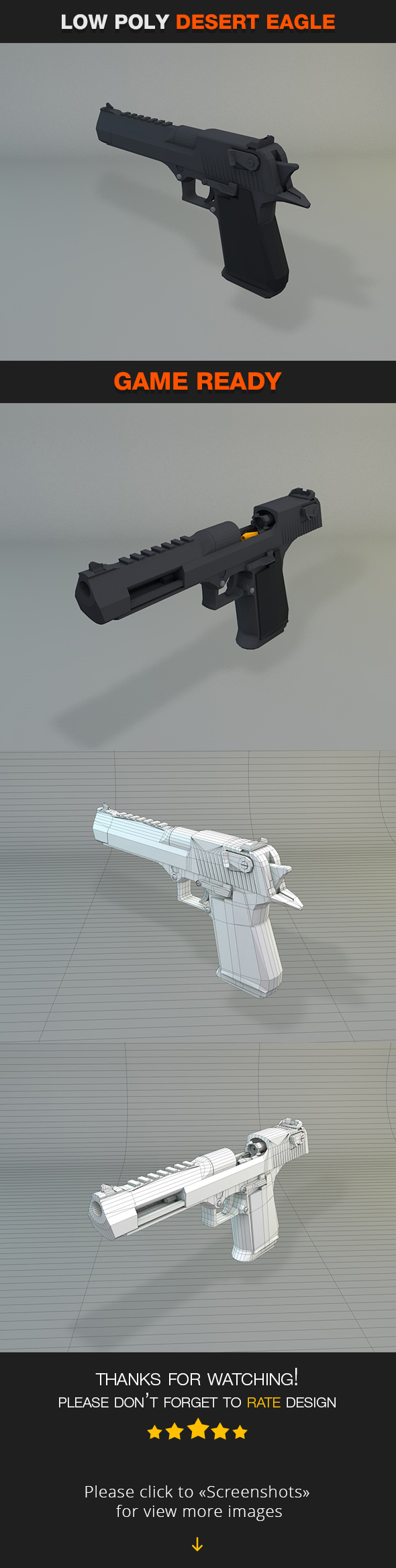 3DOcean Low Poly Desert Eagle 19991840