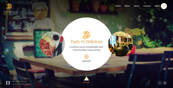 Rubis - Beautiful responsive website template for Restaurant and Food business