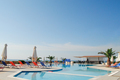 swimming pool on sky background