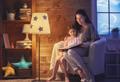 Family reading bedtime.