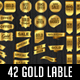 42 Gold Label Banner Sticker Ribbons Set