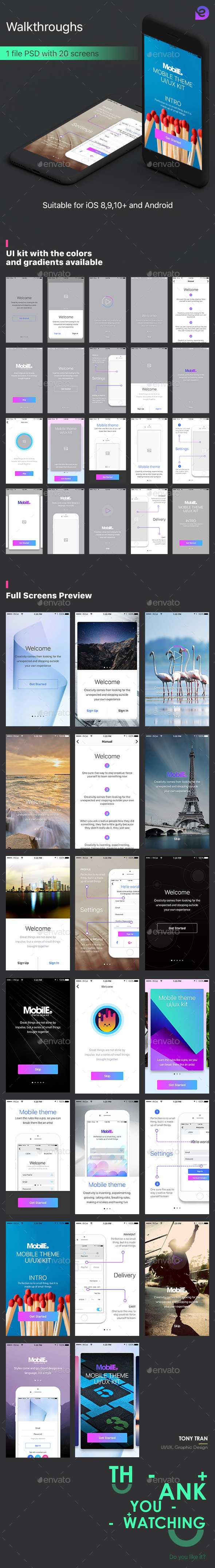 Mobile Theme UI Kit | Walkthroughs (User Interfaces)