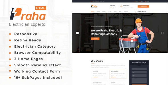 Praha - Electrician Experts HTML Template