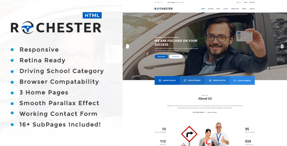 Rochester : Driving School HTML Template
