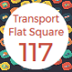 Transport Flat Square Rounded Icons with shadow