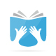 Vector of hand and book logo combination