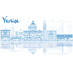 Outline Venice Skyline Silhouette with Blue Buildings