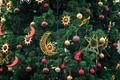 Christmas decoration: balls and stars on the Christmas tree