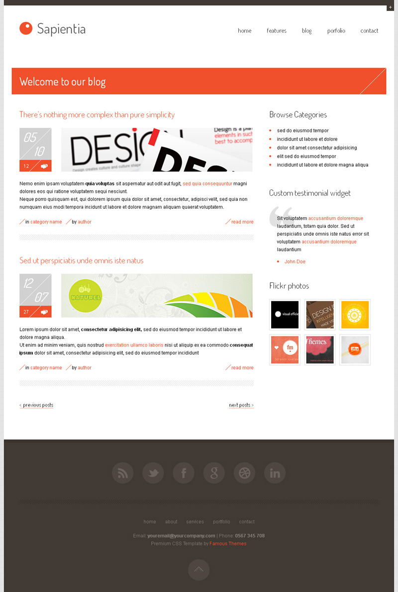 Sapientia Wordpress Theme - blog page design