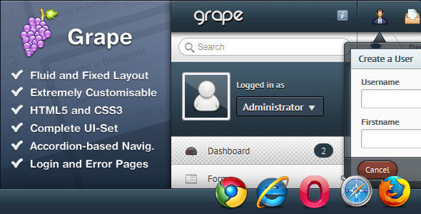 Grape – Professional & Flexible Admin Template - Admin Templates Site Templates