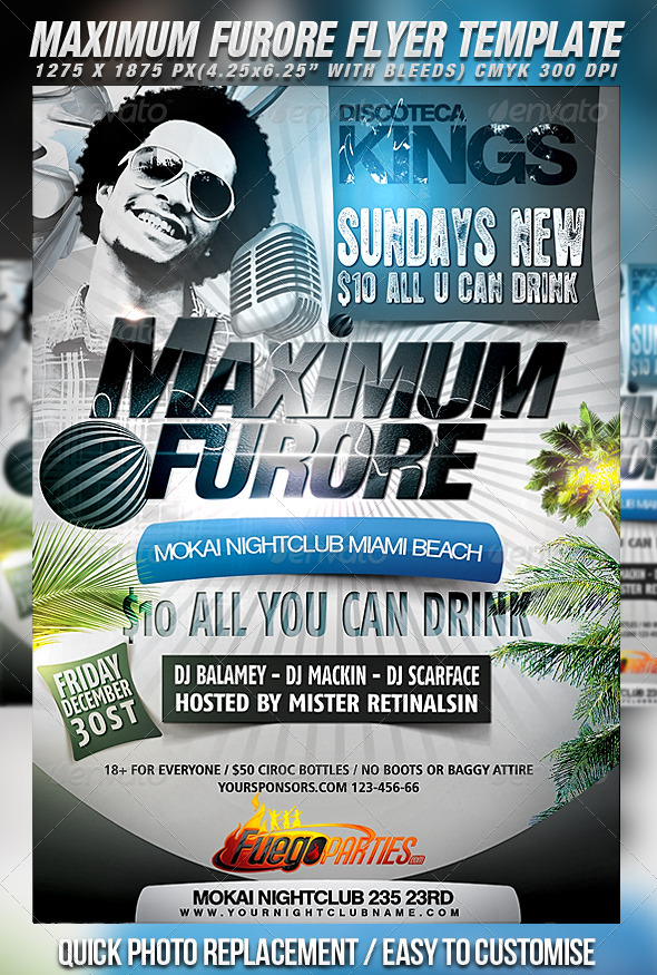 Maximum Furore Flyer Template - Clubs & Parties Events