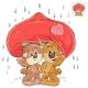 Couple of Enamored Brown Teddy Bears