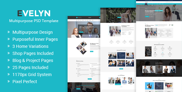 Evelyn | Multipurpose Business and Agency PSD Template