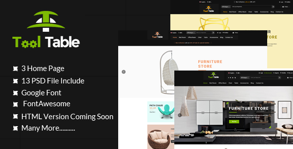 Tool Table Commerce PSD Template