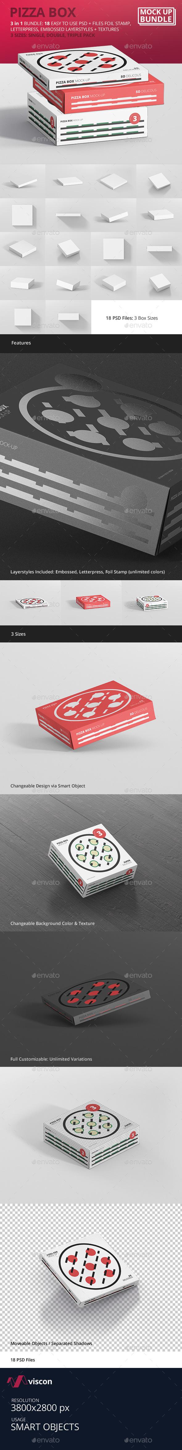 Pizza Box Mockup Bundle