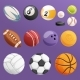 Set of Sport Balls Isolated Vector Collection